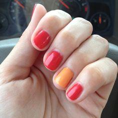 Cajun shrimp and mustard orange nails (shellac polish)