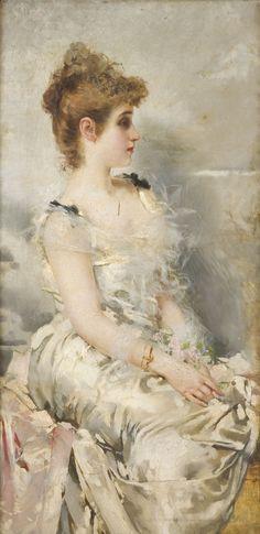 Giovane donna (also known as Portrait de jeune femme)  Vittorio Matteo Corcos - 1885