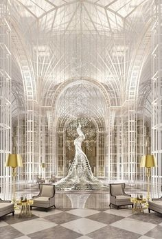 Grand lobby of the Chanel Hotel, Paris   @GuessQuest collection