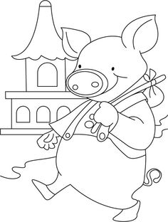 Pig ready for city tour coloring pages Farm Coloring Pages, Kids Colouring, Animal Coloring Pages, Coloring Sheets, Free Coloring, Printable Labels, Free Printables, Pig Images, Recipe Cards