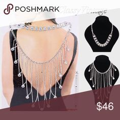 """Stunning back necklace  & choker. 3 necklaces in 1 Silver tone metal and crystal stones. 16"""" + 10"""" long.charm size 9"""" long. Picture  shows them separately and together . Choker, stunning crystal fringe or choker in front with fringe in back boutique Jewelry Necklaces"""
