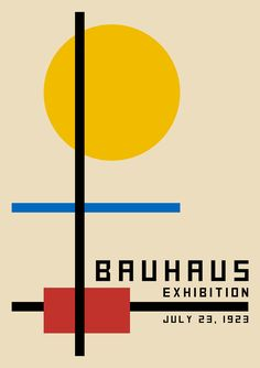 - Complementary and neutral colour palette used in this design. - Strong alignment through the use of simple geometric shapes. - Tension is achieved through the use of negative space. - Display font used to promote a contemporary aesthetic. Poster Art, Poster Design, Graphic Design Posters, Design Art, Poster Drawing, Blue Poster, Poster Ideas, Art Bauhaus, Bauhaus Design