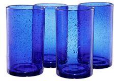 S/4 Iris Highball Glasses, Cobalt Blue on OneKingsLane.com by artland.  $32