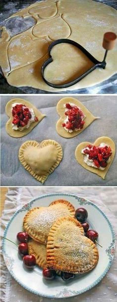 Filled pastry hearts