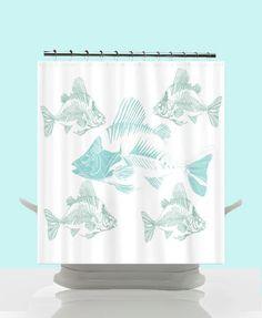 Funky Coastal Decor Shower Curtain  Aqua Fish by ArtfullyFeathered, $60.00