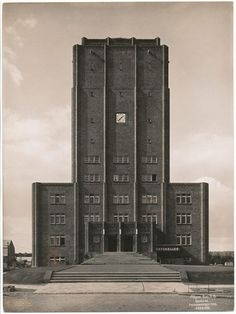 Town Hall and Water Tower (1926) in Neuenhagen, Germany, by Wilhelm Wagner