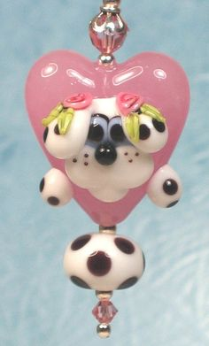Made to order Margo lampwork beads valentine pink by margolampwork, $30.00