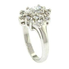 Classic Sterling Silver Flower Promise Ring w/Marquise White CZ Alljoy. $28.99