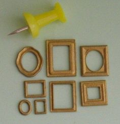 Eight miniature 1/48th scale picture frames.Largest frame measures 13mm x 10mm and smallest is 5mm x 3mm.Main picture shows a set of frames painted gold. Supplied in brown or white plastic.Could also be used as small frames in 1/24th scale.