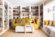 Designer Lauren Liess invites Domino into her family's Virginia home, where nature and simplicity rule. Find more home makeovers, home improvements and home decorating ideas on Domino. Lauren Liess, Yellow Sofa, Yellow Rooms, Turbulence Deco, Virginia Homes, Home Improvement Loans, Attic Renovation, Interiores Design, Home And Living