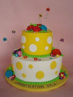 Polka Dot Spring Garden Cake by CakesUniqueByAmy.com, via Flickr