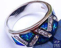 Blue Australian Opal Russian CZ 925 Sterling Silver Ring Size 6   eBay