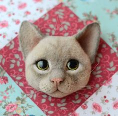 Cute Needle felted wool animals cat(Via @nata_kravtsova)