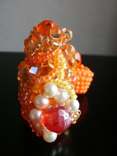 TOUCH this image: Orange Creamsicle Beaded Ring by Vixenartwear