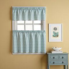 Casablanca Window Curtain Tier Pair in Blue