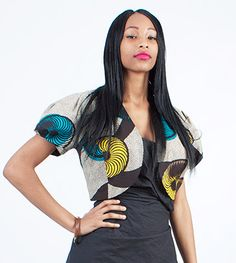 Handmade African Fabric Tribal Crop Jacket/Bolero/Shrug with puff sleeves  Blue and yellow circle swirl abstract print    Beautifully designed for