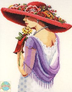Sophisticated Lady - cross stitch kit by Janlynn - An elegant Art Deco lady in large red hat with flowers. Cross Stitch Kits, Cross Stitch Designs, Cross Stitch Patterns, Cross Stitching, Cross Stitch Embroidery, Red Hat Club, Dame Chic, Red Hat Ladies, Wearing Purple