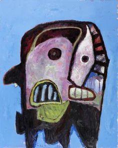 Lucebert (1924-1994) was een Nederlands dichter en schilder. In de jaren zestig legde hij zich vooral toe op de beeldende kunst, die destijds 'figuratief-expressionistisch' genoemd werd. Zijn schilderwerk, dat vooral in het begin sterk beïnvloed was door Cobra, geeft blijk van een vrij pessimistisch wereldbeeld.-Masker
