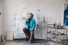 """For the first time, the 71-year-old artist Maggi Hambling opens the doors to her home and studio, pictured here. She admits that she """"looks defiant"""" in most photos, opting to stare sternly rather than smile. Not shown is her """"blue tooth"""" — an """"Yves Klein blue"""" enamel cap that she asked her dentist to apply to one of her front teeth."""