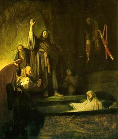 REMBRANDT Harmenszoon van Rijn  (b. 1606, Leiden, d. 1669, Amsterdam)  The Raising of Lazarus  c. 1630  Oil on panel, 96.2 x 81.5 cm  Los Angeles County Museum of Art, Los Angeles