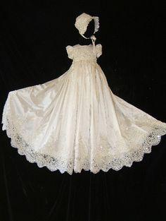 ORIANA II Size 3 6 Ivory Angela West Christening Gown Set Bonnetbooties