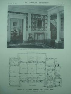 Interior and First Floor Plan of the House of Newbold Morris, Esq., Lenox, MA, 1913, Hoppin & Koen