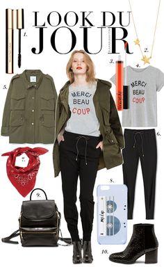 Look Du Jour: Vamplify! Grey t-shirt with print+black jogger pants+black boots+black backpack+khaki parka+red bandana. Fall Everyday Outfit 2016