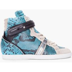 BARBARA BUI Turquoise Python Skin Sneakers ($472) found on Polyvore