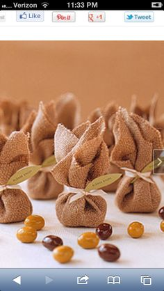 Fall wedding favor; little brown bags with chocolate