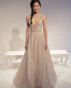 We love her!!! And the gown also... with that unique cappuccino tone to it and a great flattering A-shape gown. #GALA #No.2 Make-up sponsored by THE @bobbibrown and @privehair, Hair @jorgeluis123, @hairartproducts #nybfw #bridalfashionweek
