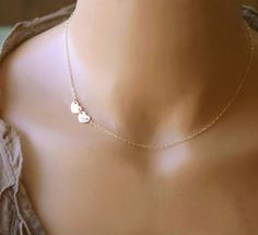 Dainty Heart Necklace Initial Necklace by CharmingMetals on Etsy