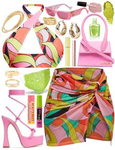 pink and green set Outfit | ShopLook Beach Day Outfits, Wave Ring, Outfit Maker, Winter Springs, Summer Winter, Mykonos, Puerto Rico, Pink And Green, Night Out