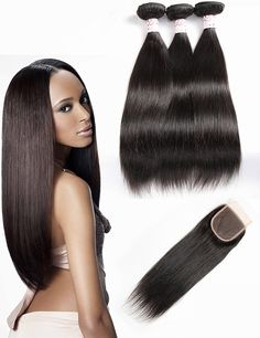 Grace Plus Hair Extensions Brazilian Virgin Hair Straight Human Hair Bundles 3 Bundles With Lace Closure RemyHair Weave Natural Color ** This is an Amazon Affiliate link. To view further for this item, visit the image link.