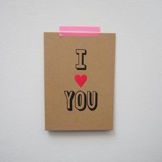 I Heart You Kraft card with pink neon accents from Scissor Monkeys Monkeys, Stationery, Neon, Crafty, Heart, Pattern, Pink, Cards, Design