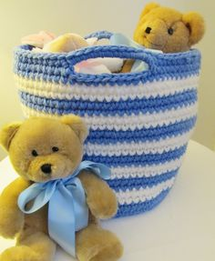 I adapted the super-easy pattern I posted (see the ombre basket) and did this adorable one for a baby's room and also made a bunch of tri-color ones for Xmas gifts.