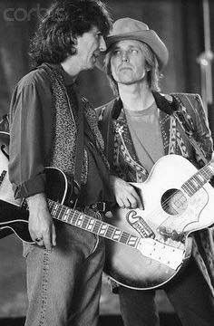 George Harrison and Tom Petty of the Traveling Wilburys