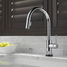 Delta Trinsic Single Handle Pull-Down Kitchen Faucet with Technology in Polished Chrome (Grey) Bar Faucets, Kitchen Sink Faucets, Delta Faucets, Kitchen Handles, Bathroom Faucets, Modern Kitchen Faucets, Kitchen Fixtures, Cleaning Faucets, Delta Trinsic