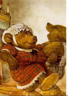 Rien Poortvliet by duffeli Children's Book Illustration, Book Illustrations, Teddy Bear Cartoon, Baumgarten, Goldilocks And The Three Bears, Bear Pictures, Vintage Teddy Bears, Love Bear, Bear Art