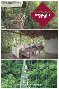 """Ihr sucht ein Ziel für unvergessliche Flitterwochen Erinnerungen? Dann packt eure Koffer, macht euch selbst ein Hochzeitsgeschenk und auf geht es nach Costa Rica. Während der Hochzeitsreise erlebt ihr """"La Pura Vida"""". Ihr besucht den berühmten Nebelwald Monteverde, den Vulkan Arenal und das Städtchen La Fortuna. Ein besonderes Highlight ist das Baumhaus Hotel mitten im Regenwald. Selbstverständlich darf auch Erholung und Wellness an der traumhaften Küste Costa Ricas nicht zu kurz kommen. Monteverde, Costa Rica Reisen, Holiday Destinations, Travel Destinations, Travel Companies, Group Travel, Where To Go, First World, Travel Photos"""