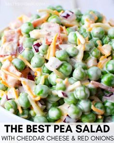 Pasta Salad Recipes 42612 Best Pea salad, everyone LOVES this homemade classic pea salad with red onions, cheddar cheese, such a traditional picnic side dish - Easy pea salad and you could even add a bit of bacon! Picnic Side Dishes, Side Dishes Easy, Side Dish Recipes, Easter Side Dishes, Cold Side Dishes, Camping Side Dishes, Health Side Dishes, Main Dishes, Summer Side Dishes