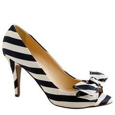 Evie stripe peep-toe pumps, JCrew, $258