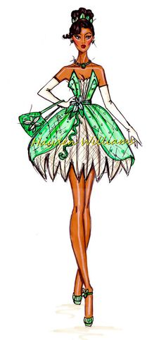 Princess Tiana from The Princess and the Frog by fashion illustrator Hayden Williams