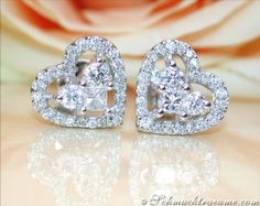 Pretty Diamond Heart Studs
