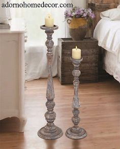 Distressed Floor Candle Holders Set Wood Tall Standing Rustic Unique Style