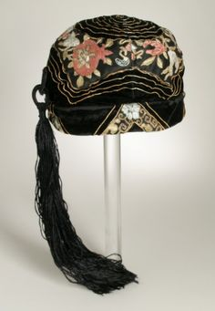 Woman's Cloche: Silk and metal thread embroidery on silk satin and velvet with silk tassel trim; United States, c. 1920 | LACMA Collections