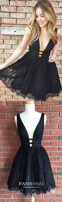 A-line Homecoming Dresses, Black Prom Dresses, Short Prom Dresses With Beaded/Beading Sleeveless Mini Lace Homecoming Dresses, Prom Dresses For Teens, Dresses Short, A Line Prom Dresses, Trendy Dresses, Formal Dresses, Prom Gowns, Graduation Dresses, Ball Dresses