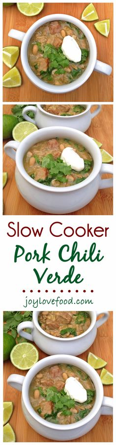 Slow Cooker Pork Chili Verde — a delicious, flavorful chili full of fork tender cubes of pork, white beans, tomatillos and green chilies, perfect for an easy weeknight meal or a casual dinner party.