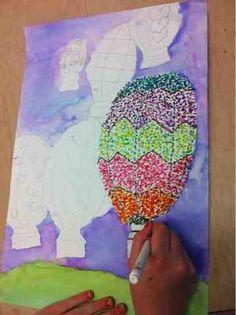 Tiny hands art: pointillism hot air balloons artwork ideas kids/recess in 2 Kunst Picasso, Picasso Art, Hand Kunst, 5th Grade Art, Third Grade, Kids Watercolor, Art Lessons Elementary, Hand Art, Summer Art