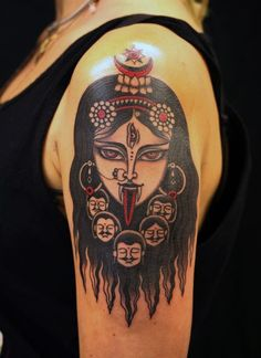 What does kali tattoo mean? We have kali tattoo ideas, designs, symbolism and we explain the meaning behind the tattoo. Kali Tattoo, Ganesha Tattoo, Hand Tattoos, Body Art Tattoos, Cool Tattoos, Buddha Tattoos, Amazing Tattoos, Tatoos, Buddhist Symbol Tattoos