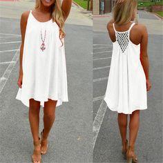 ZANZEA Summer Women Chiffon Short Dress Sexy Strap Sleeveless Hollow Back Beach Mini Dresses Loose Casual Vestidos 7 Colors